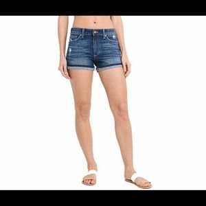JUST USA High rise released cuffed shorts